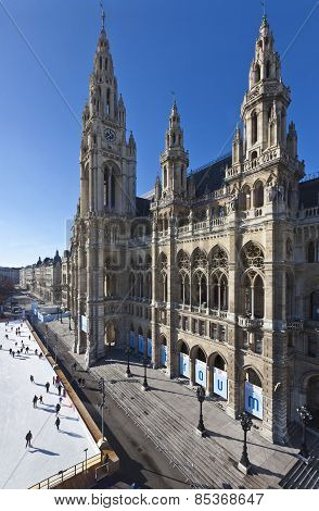 Ice Skaters At Wiener Eistraum In Front Of The City Hall Of Vienna