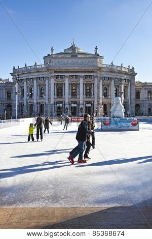 Ice Skating People At The Wiener Eistraum In Vienna