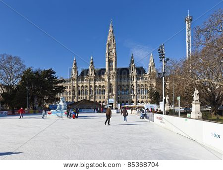 Ice Skaters At Wiener Eistraum In Font Of The City Hall Of Vienna