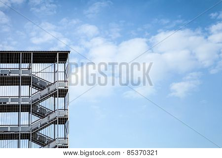 Abstract Industrial Architecture Fragment On Blue Sky
