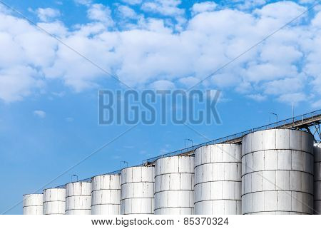 Shining Metal Tanks For Storage Of Bulk Materials