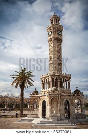 Konak Square View With Old Clock Tower, Izmir, Turkey