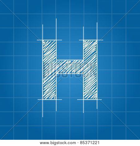 H letter architectural plan
