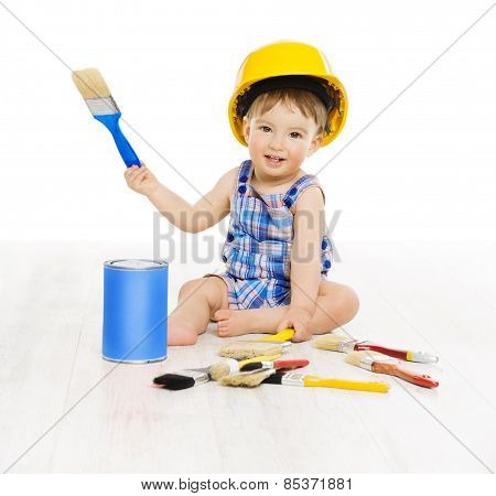 Baby Painting Brush Color. Child Boy Funny Little Designer, Small Kid Play In Hard Hat, Profession
