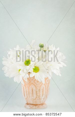 White Daisies In Small Vase