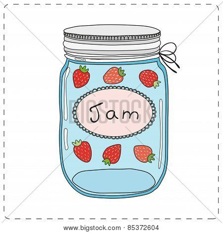 Strawberry jam in mason jar