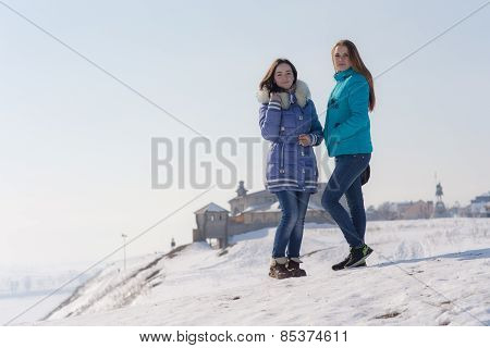 Two Teenager Girl In Winter