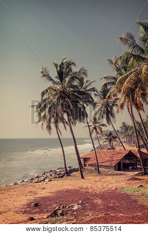 Fisherman hut in the village near the ocean.