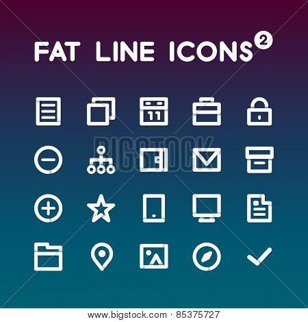 Fat Line Icons set 2