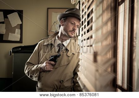 Spy Agent Peeking From A Window