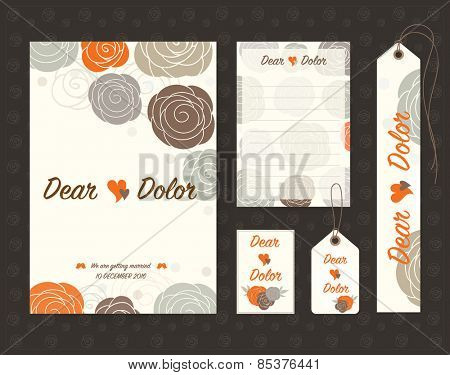 Vintage wedding invitation set design Template. Vector illustration.