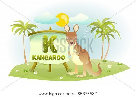 Funny Cartoon Alphabet K With Kangaroo