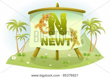 Funny Cartoon Alphabet N With Newt