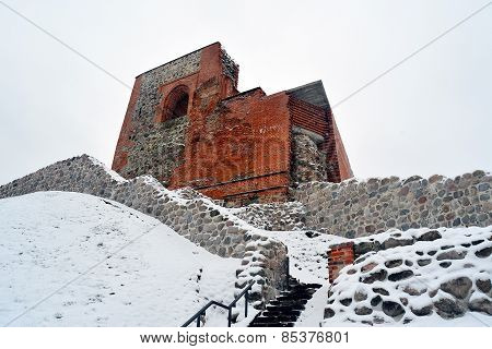Upper Castle Keep On Gediminas Hill Is A Part Of Vilnius Castle Complex