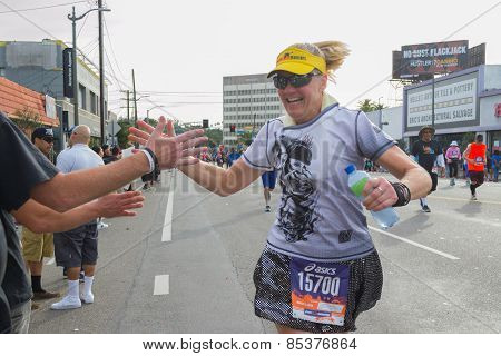 Unidentified Runner Participating In The 30Th La Marathon Edition