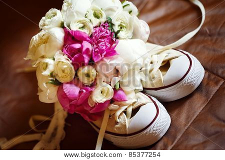 Wedding Pink Flowers With Sneakers