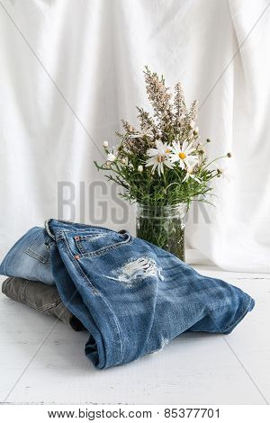 Pants Of Various Clothes And Accessories For Men