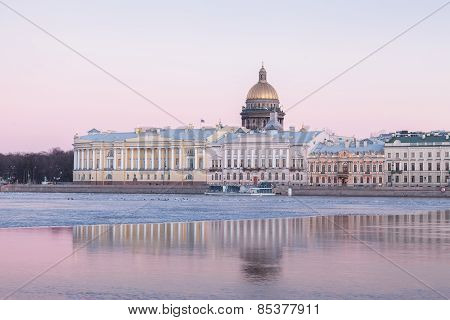English Embankment And Saint Isaac's Cathedral, St. Petersburg