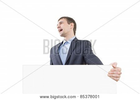 laughter business man showing blank signboard