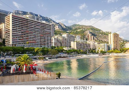 LARVOTTO, MONACO - OCTOBER 3, 2014: View of Larvotto beach in Monaco