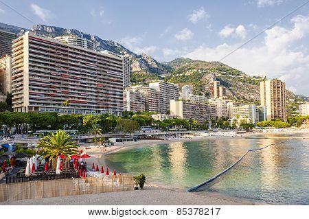 LARVOTTO, MONACO - OCTOBER 3, 2014: View of Larvotto beach in Monaco