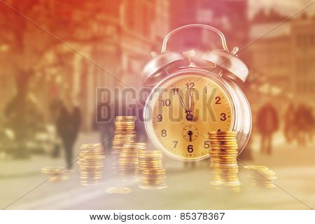 Golden Coin Stack And Vintage Clock