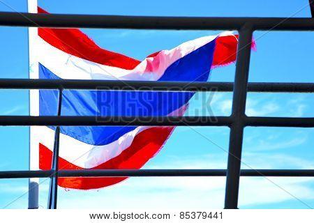 Asia  Kho Samui Bay Isle Waving Flag    In Thailand And