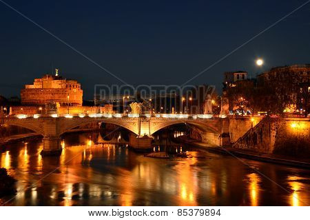 Night Landscape With Castel Sant'angelo In Rome - Italy