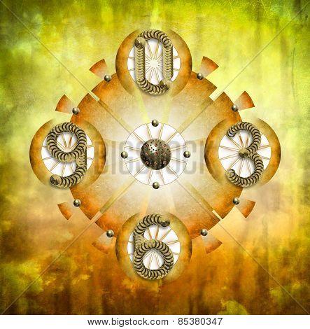 Abstract gold clock