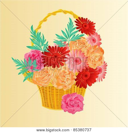 Roses And Gerberas In A Basket Festive Background Vector