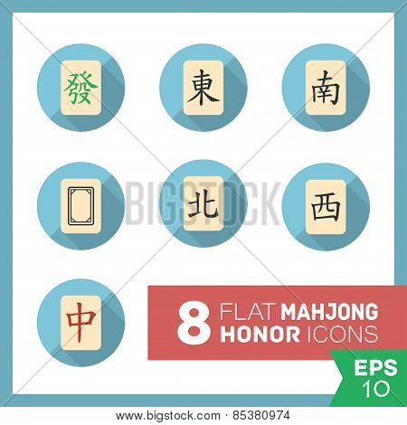 Set of vector mahjong icons