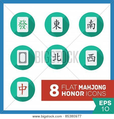 Set of vector mahjong icons