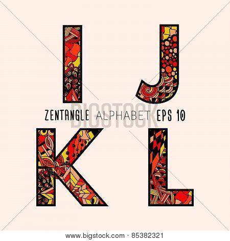 Vector set of zentangle letters.
