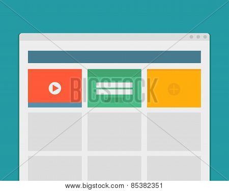 Simple browser window create website on blue background