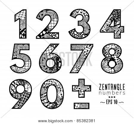 Vector set of zentangle numbers, plus and minus