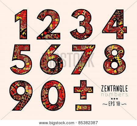 Vector set of zentangle numbers and symbols