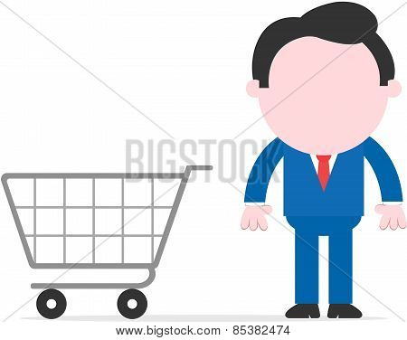 Businessman Beside Shopping Cart