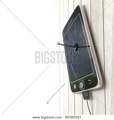 Digital tablet on wooden desk with nails concept background