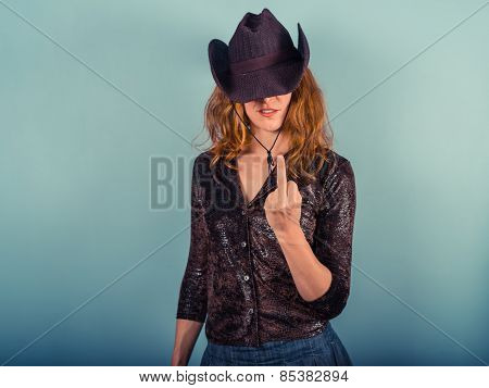 Young Woman Showing Her Middle Finger