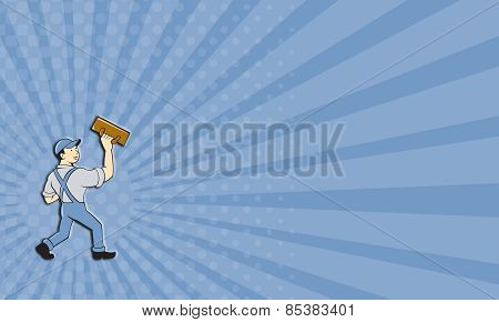 Business Card Plasterer Masonry Trowel Cartoon