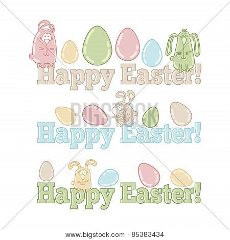 Words HAPPY EASTER! with cute easter eggs and bunnies