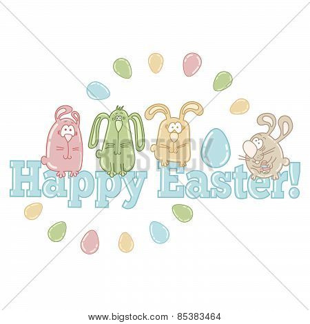 Vector easter greeting card with cute easter eggs, bunnies and words HAPPY EASTER!