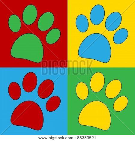 Pop Art Paw Symbol Icons.