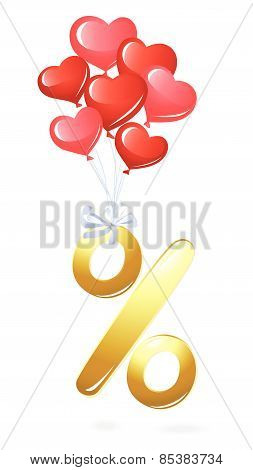 Gold percentage symbol with heart balloons