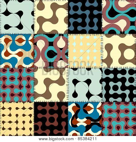 Patchwork with retro geometric patterns.