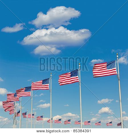 Washington Monument flags in District of Columbia DC USA