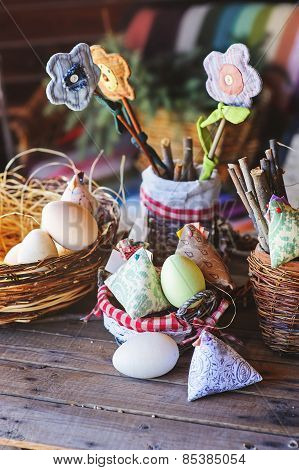 handmade easter decorations in country house