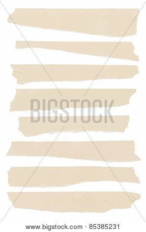 Set of horizontal and different size sticky tape, adhesive pieces. Space for text. Vector illustrati