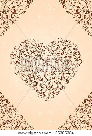 Heart on beige background