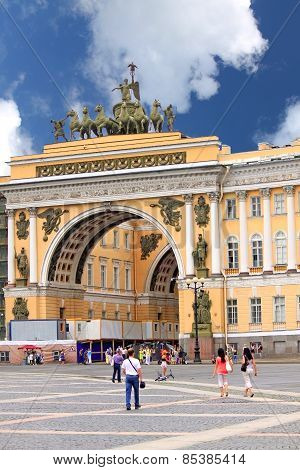 Triumphal Arch Of The General Staff In St. Petersburg, Russia